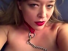 Leashed Blonde Bimbo Whips and Touches herself