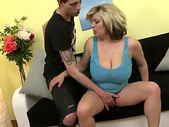 superb buxomy mommy gets taboo sex with young son