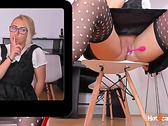Euro MILF slut with vibrator in pussy is squirting rivers at work / ONLINE NOW on katehaven.hot4cams.com