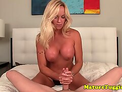 Bigtitted cougar godess wanking cock POV