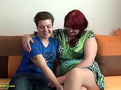 Lesbian granny and teen with huge dildo by OldNanny